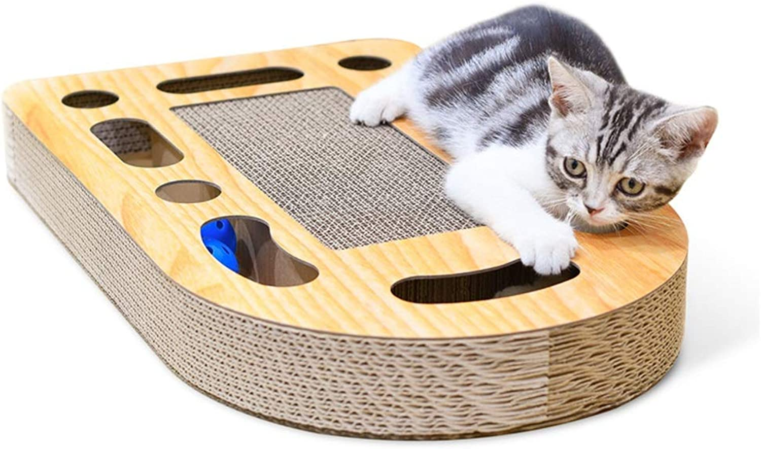 Corrugated Paper Cat Scratcher with Ball Scratch Board Claw Claw Toy Rest Bed Sofa Cutouts to Hide Toys Pet Paw Care Toy Infinity Lounge