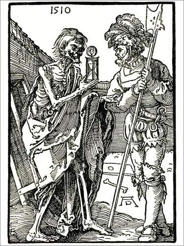 Poster 100 x 130 cm: Tod und Landsknecht von Albrecht Dürer/akg-Images - hochwertiger Kunstdruck,...