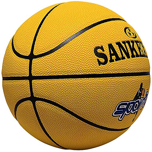 Find Discount SSLLPPAA Youth Basketball Soft Leather Basketball Women's Youth No. 6 Yellow Basketbal...