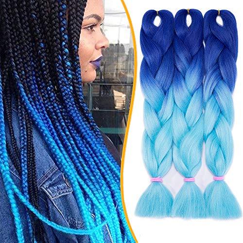 3 Stück Braids Kunsthaar Extensions 60cm Braiding Haarverlängerung Crochet Flechthaar Synthetische Haare 100g/Bündel Ombre Blau