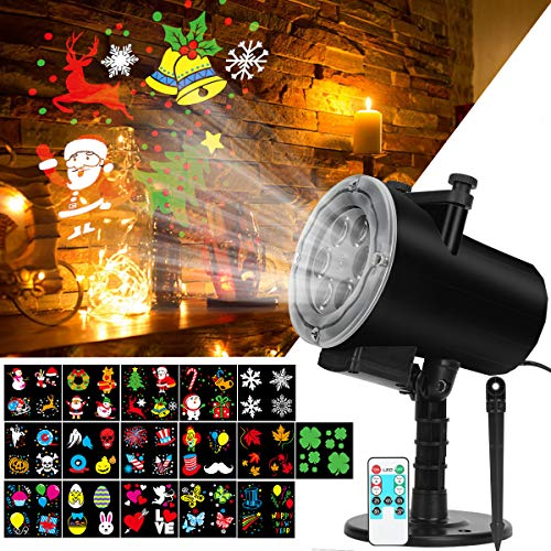Syslux Christmas Projector Light, 16 Patterns Halloween Projector Lights Waterproof Outdoor Indoor Holiday Light with Remote Control for Celebration Halloween,Christmas,Birthday,Party,Landscape Decor