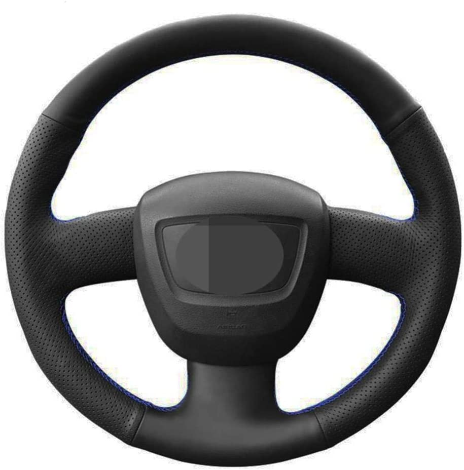 MDHANBK Car Steering Excellent Wheel Cover Black Leather New mail order DIY Hand-Stitched