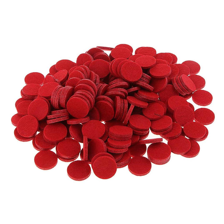 未満クッションマイクロプロセッサFenteer 約200個入り 詰め替えパッド 精油付き アロマディフューザー 交換用 オイルパッド 全11色 - 赤