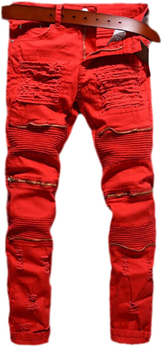 CACLSL Men's Pants Retro Ripped Cool Pants European and American Style Plus Size Jeans