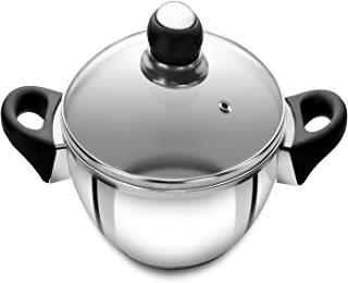 Anjali Fiesta Stainless Steel Kadai with Lid, 1.6 litres, Silver