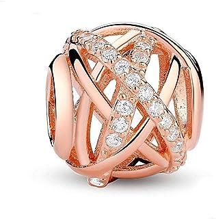 Breloque en argent sterling925 et oxyde de zirconium transparent en forme de galaxie pour bracelet à breloques Pandora Or...