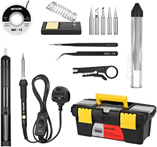 Meterk 14 in 1 Soldering Iron Kit 60W Adjustable Temperature Welding Soldering Iron with ON/OFF Switch 5pcs Soldering Tips...