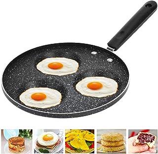 BESTZY Sartén 3 moldes de Huevo Frito Huevos fritos moldes Anillos aptas, sartén Antiadherente de aleación de Aluminio multifunción sartén Huevo tortita Filete para Estufa de Gas