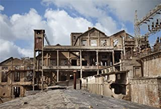Baocicco 9x6ft Ruin Factory Backdrop Photography Background Rustic West Cowboy Town Mine Gold Wild Old Building Industrial Ruin for Photo Studio Props