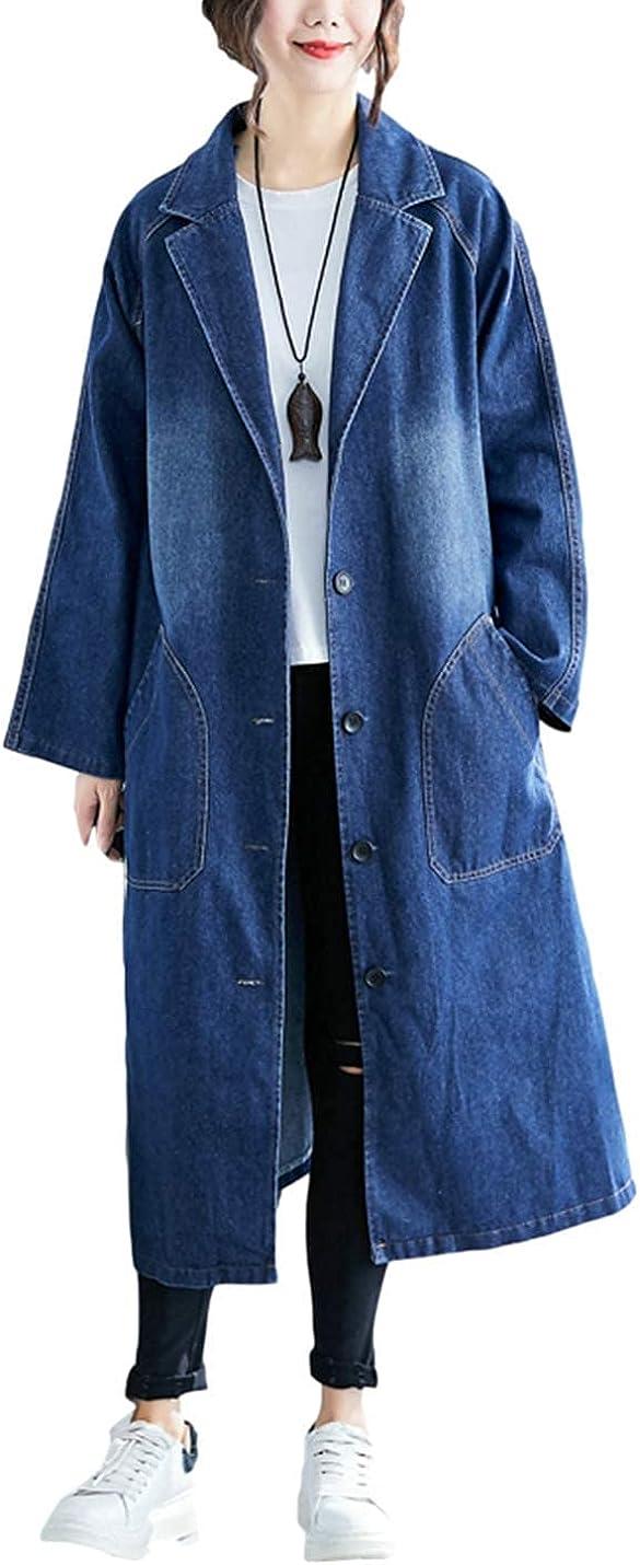 Omoone モデル着用 注目アイテム Womens Long Sleeve Lapel Denim Mid 2020モデル Trench Coa Button