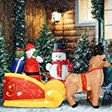 SETSCZY Papá Noel con Trineo Renos Hinchable Inflable 220cm decoración de Navidad iluminación Luces de Exterior Interior