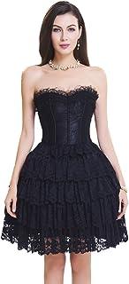 SZIVYSHI Women's Sexy 14 Plastic Boned Lace up Bustier Corset Dress