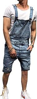 Salopette Uomo Pantaloncini di Jeans Overall Tuta Intera, Denim, Casual, Slim Fit