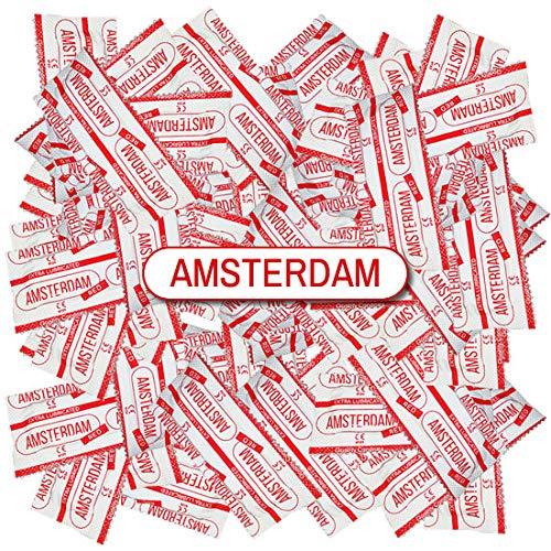 Amsterdam Red, 100 roode condooms met aardbei smaak, breedte 53mm