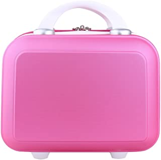Genda 2Archer Small Cosmetic Suitcase Abs Hard Shell Luggage Vanity Case 14Inch Rose Red
