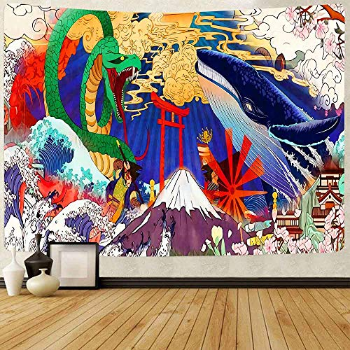 Puzzle 1000 piezas Pintura japonesa de la decoración del atardecer de la ballena koi del hippie de la ola del océano puzzle 1000 piezas educa Rompecabezas de juguete de descom50x75cm(20x30inch)