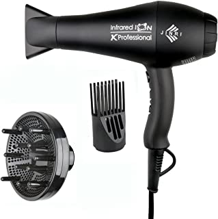 Professional Ionic Salon Hair Dryer, Jinri Powerful 1875 watt Blow Dryer Negative Ions AC Motor Infrared Low Noise Hair Blow Dryer with Diffuser & Concentrator & Comb, 3 Heat 2 Speed Settings, Black