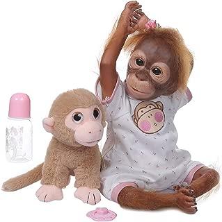 ICCQ 20 Inch Realistic Doll Soft Silicone Vinyl Newborn Babies Monkey Lifelike Handmade Toy Children Birthday Gifts