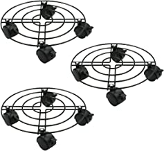 Moutik 3 Pack Round Plant Caddy, Metal Plant Stand on Roller Patio Flower Pot Rack 10.5 in Plant Holder with Lockable Omnidirectional Wheels Indoor/Outdoor Black