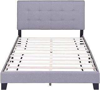 FLIEKS Bed Frame Upholstered Platform Mattress Foundation with Wooden Slat Support and Tufted Headboard (Grey, Full)