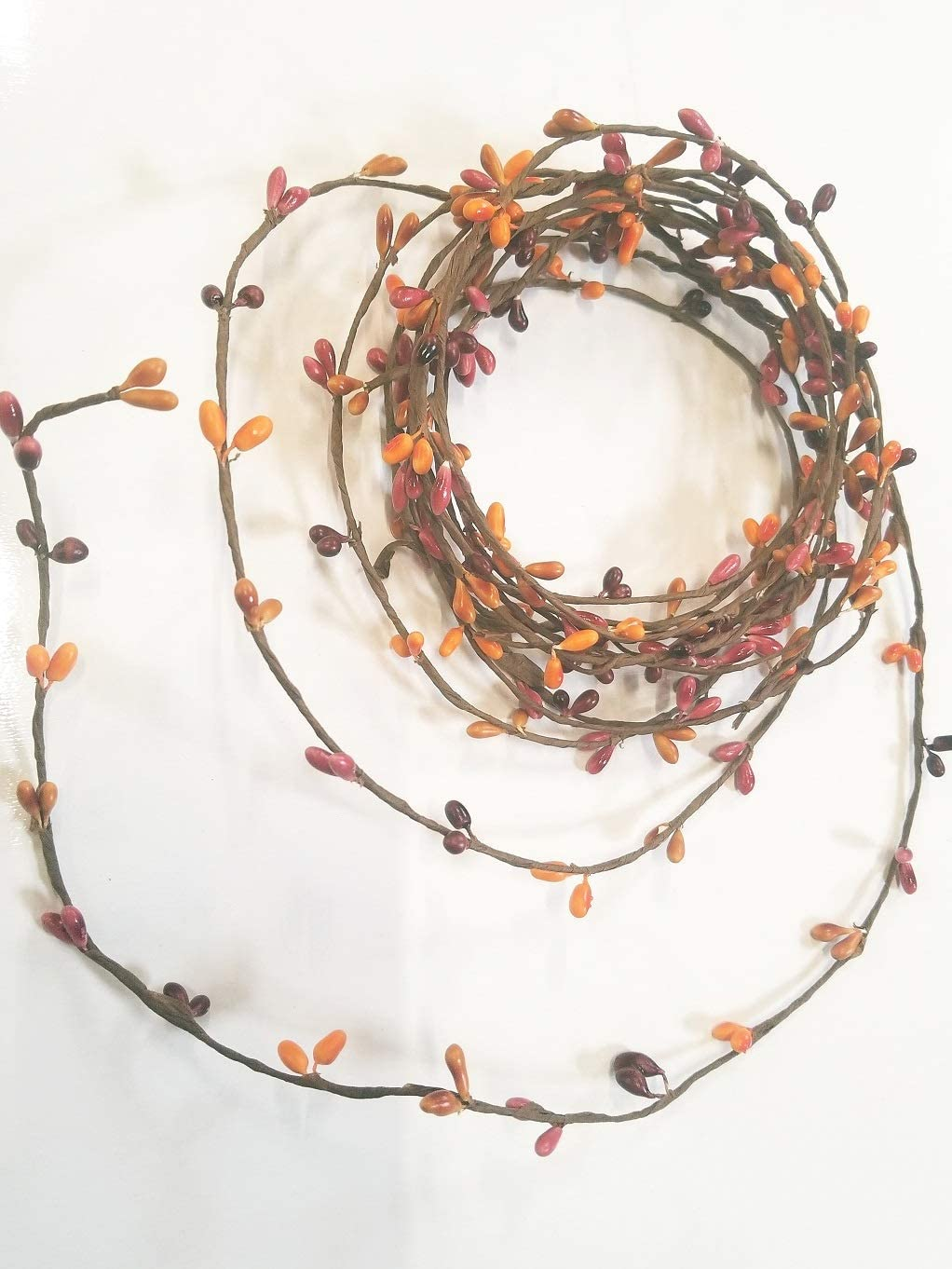 Sunset Orange Pip Berry Single Ply Garland 18' Country Primitive Floral Craft Decor - 3 Strands of 6' Garland That Can Be Utilized Separately or Twisted Together to Equal 18 Feet of String Garland