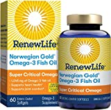 Renew Life Norwegian Gold Omega-3 Fish Oil, Super Critical Omega, 60 Softgels (Package May Vary)