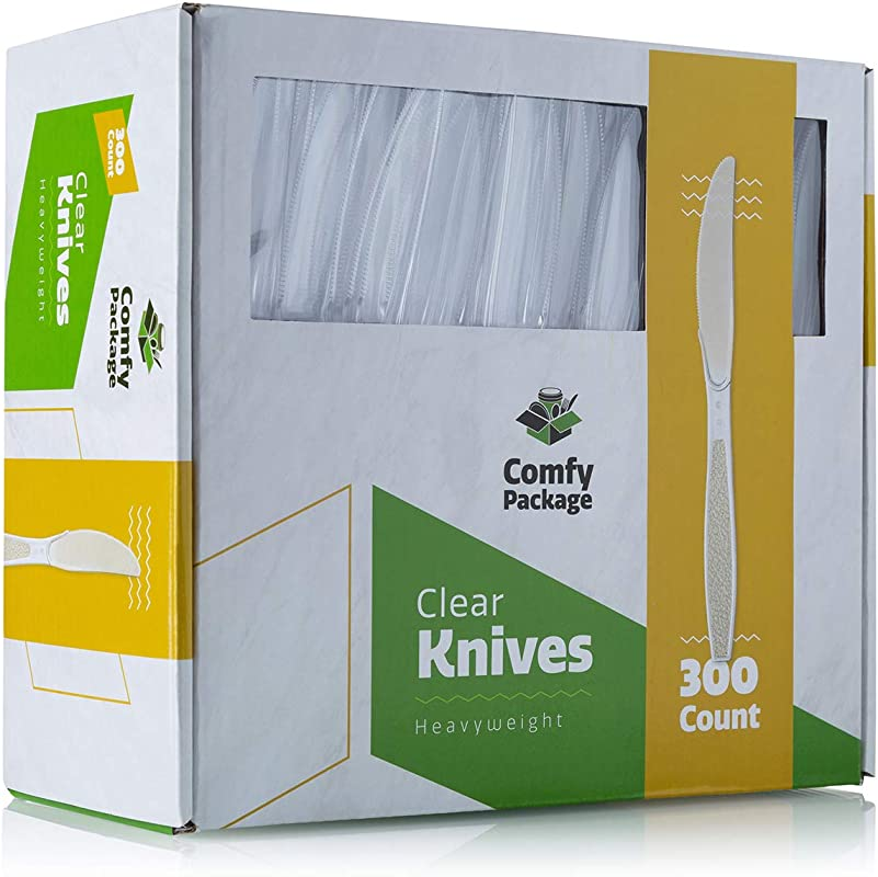 300 Pack Heavyweight Disposable Clear Plastic Knives
