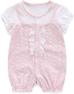 Boo.Kabee ベビー服 半袖 可愛いプリントカバーオール 女の子 薄い前開き 綿100% 赤ちゃん 誕生日 出産祝い BKB034