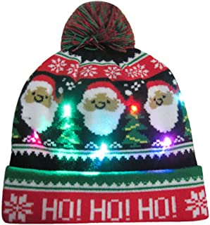 FEDULK LED Light-up Hat for Christmas Knitted Ugly Sweater Holiday Xmas Beanie Cap