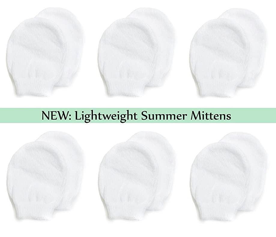 Lightweight Summer Mittens for Newborns by Nurses Choice (6 Pairs of White Cotton No Scratch Mittens)