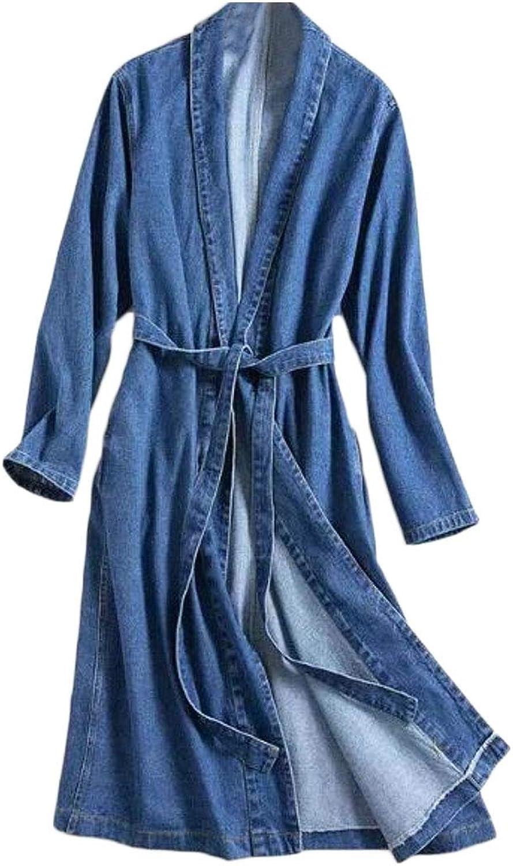 Domple Women Long Cardigan Open Front Belted Lapel Long Sleeve Denim Jacket Trench Coat