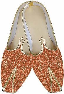 INMONARCH Mens Orange Brocade Wedding Shoe MJ0008