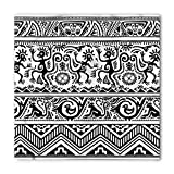 Ambesonne Unisex Bandana, Ethnic African Cave Drawings, Black and White