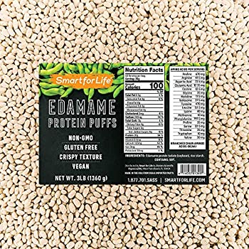 Smart for Life Soy Protein Puffs from Edamame - High Protein Zero Sugar Soy Protein Isolate Puffs - 20 Grams Protein Snacks - Non-GMO Gluten-Free - 3 Pound Box - 53 Servings - Soy Puffs