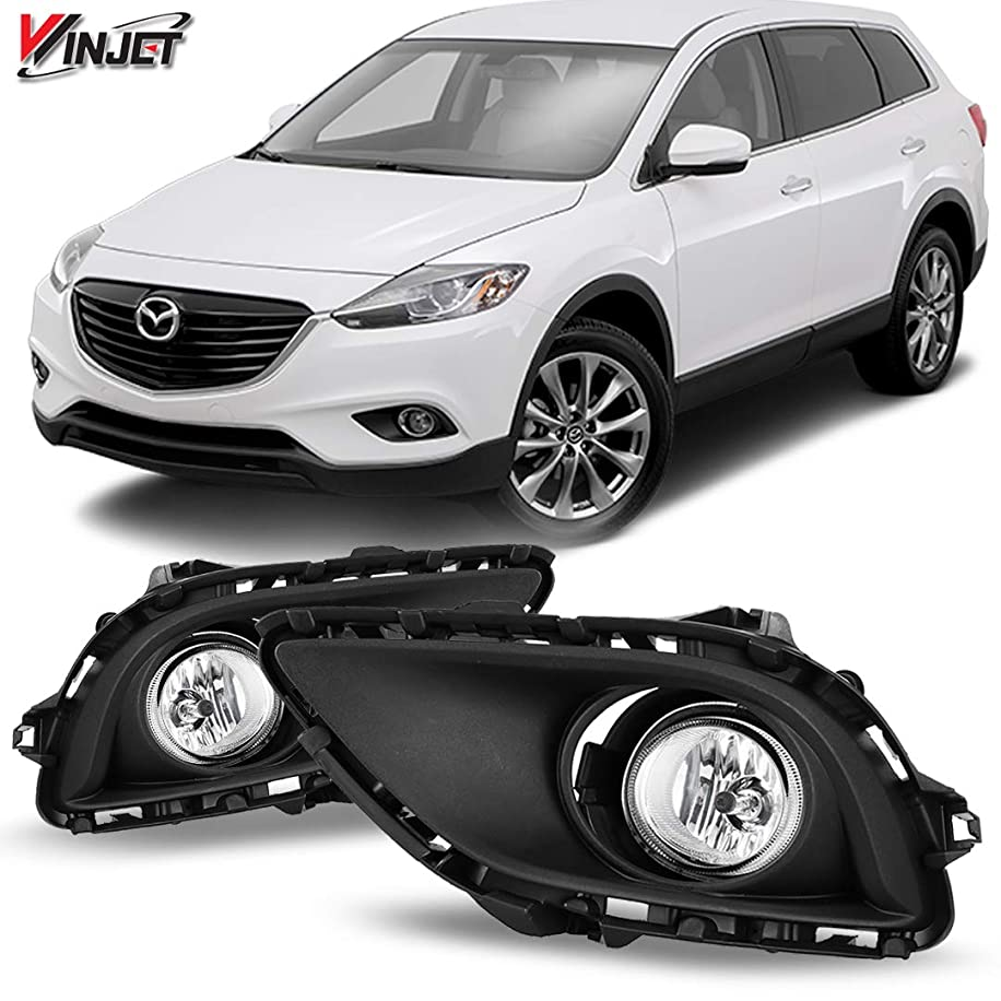 Winjet WJ30-0380-09 OEM Series for [2013-2015 Mazda CX-9] Clear Lens Driving Fog Lights + Switch + Wiring Kit