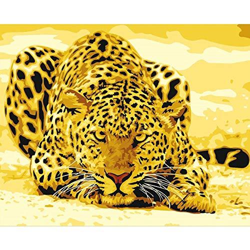 Verf door cijfers Kleur Canvas Goud Panter Dier DIY Olie Schilderen met Borstels en Acryl voor Volwassenen Beginners Kids Geschenken 40X50Cm, Zhxx Without Frame