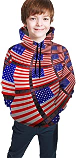 US Flag Kids/Teen Girls' Boys' Hoodies,3D Print Pullover Sweatshirts
