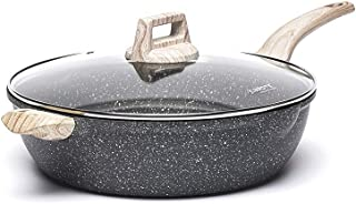 Carote 6.5-Quart Nonstick Saute Pan with Helper Handle, Deep Frying Pan with Cover, Non-Stick Jumbo Cooker Granite Stone C...