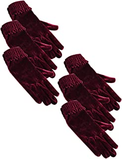 uxcell Women Cold Proof Warm Windproof Elastic Wrist Stylish Velet Gloves 6 Packs