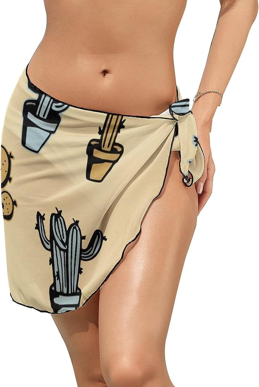 Women Beach Wrap Skirt Chiffon Sarong Pareo Swimsuit Bikini Cover Ups Vintage Cactus Desert