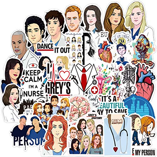 Grey's Anatomy TV Show Pack of 50 Stickers,Laptop Stickers,Perfect for Water Bottle,Laptop,Phone,Travel Extra Durable Vinyl