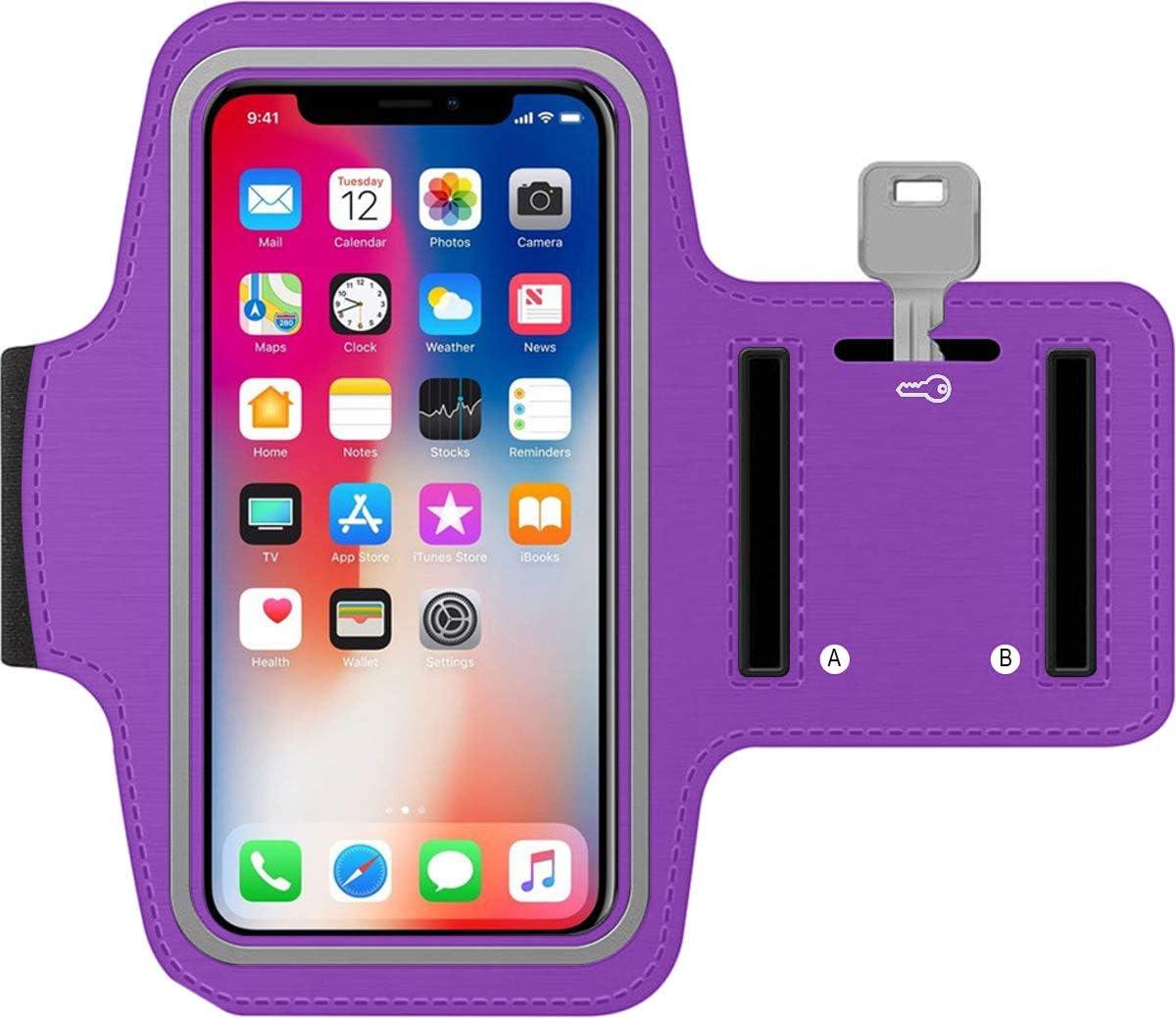 Azul Brazalete Deportivo movil de Neopreno Antideslizante Universal para telefonos moviles de hasta 6.5 antisudor con Bolsillo para Llaves Cable Tarjetas