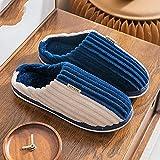 Pantuflas Hombre,Zapatillas para Hombre Invierno Azul Blanco Costura Pana Rayas Icono Cierre De Moda Suave Piso Cálido Zapatilla Zapatillas Mullidas Lavables Antideslizantes Interiores Zapatos Al A