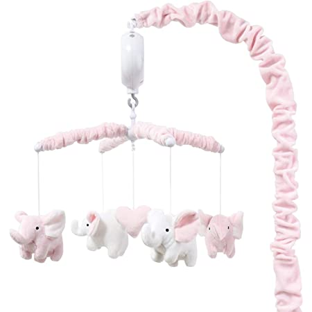 The Peanutshell Pink Elephant Musical Crib Mobile for Baby Girls | Digital Music Box with 12 lullabies