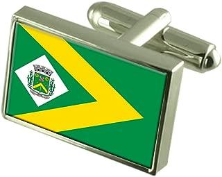 Select Gifts Santa Barbara d'Oeste City Sao Paulo State Flag Cufflinks Engraved Box