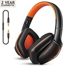 Bluetooth Headphones Wireless&Wired Stereo HI-FI Headset Over Ear with Built-in Mic, Foldable&Lightweight Headphones, Comfortable Protein Ear Pads, for Cell Phone/TV/PC/Travelling(Orange)