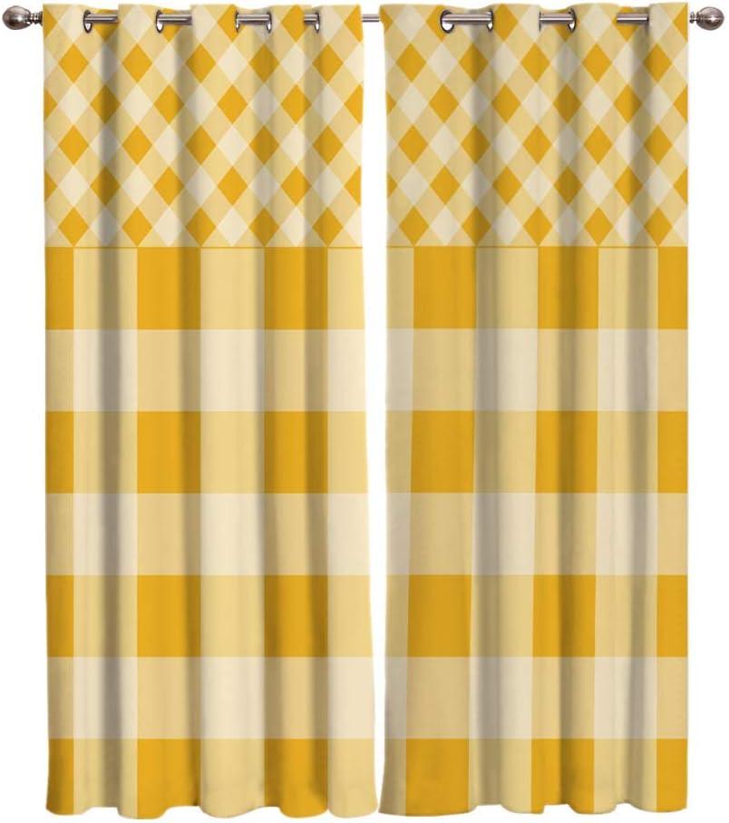WAIMMD Yellow Check Stripe Stitching depot Curtains Window Large Room Jacksonville Mall