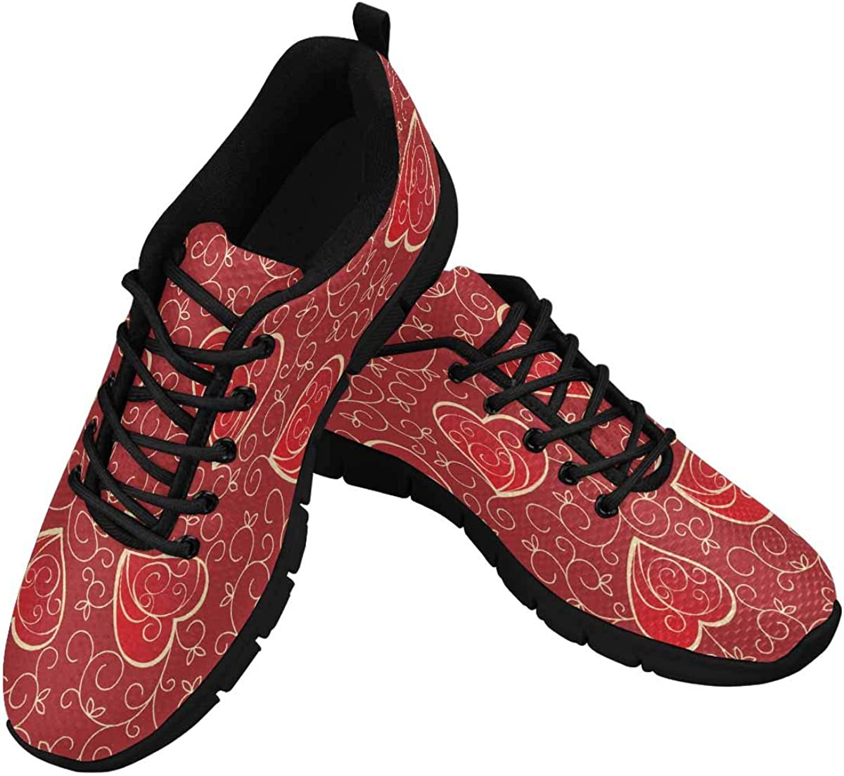 INTERESTPRINT Vintage Valentines with Hearts Women's Athletic Walking Shoes Comfort Mesh Non Slip