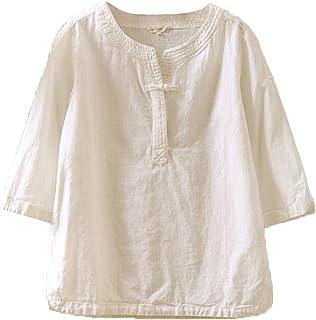 (ジュンィ) レディース tシャツ 綿麻 夏服 シンプル Tシャツ ゆったり プルオーバー 民族風 大きいサイズ