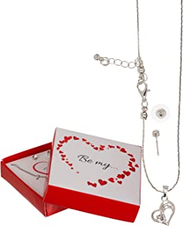 Out of the blue- Set Collana e Orecchini Forever & Love, 4 Colori Assortiti, in Confezione Regalo, Argento, 711073